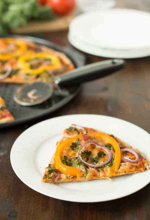 Kale, Peppers and Red Onion Pizza