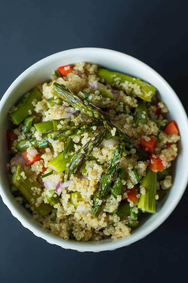 quinoa salad with roasted asparagus