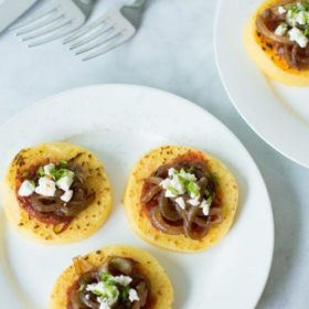 Grilled Polenta with Balsamic Onions, Tomato Sauce and Feta