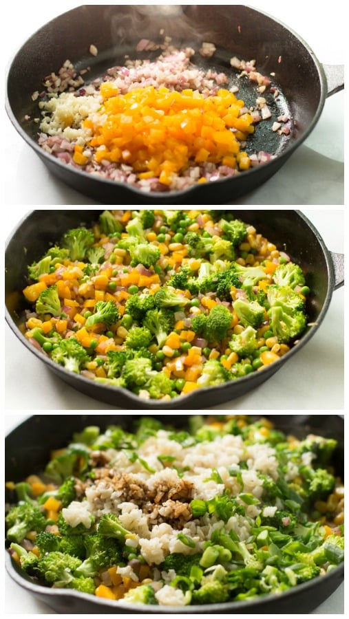 Shrimp fried rice with broccoli ingredients