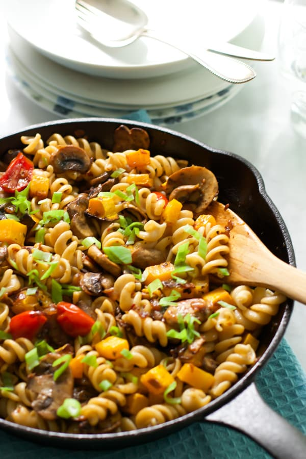 Fusilli with mushroom and roasted butter squash