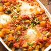 Baked Eggs with Veggies. Gluten free and low carb vegetarian dish | primaverakitchen.com
