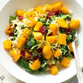 Rice with Roasted Butternut Squash and Dried Cranberries_-4