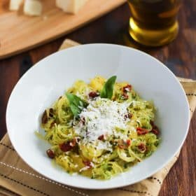 Spaghetti Squash with Sun dried Tomatoes and Basil - a delicious gluten free and low carb meal