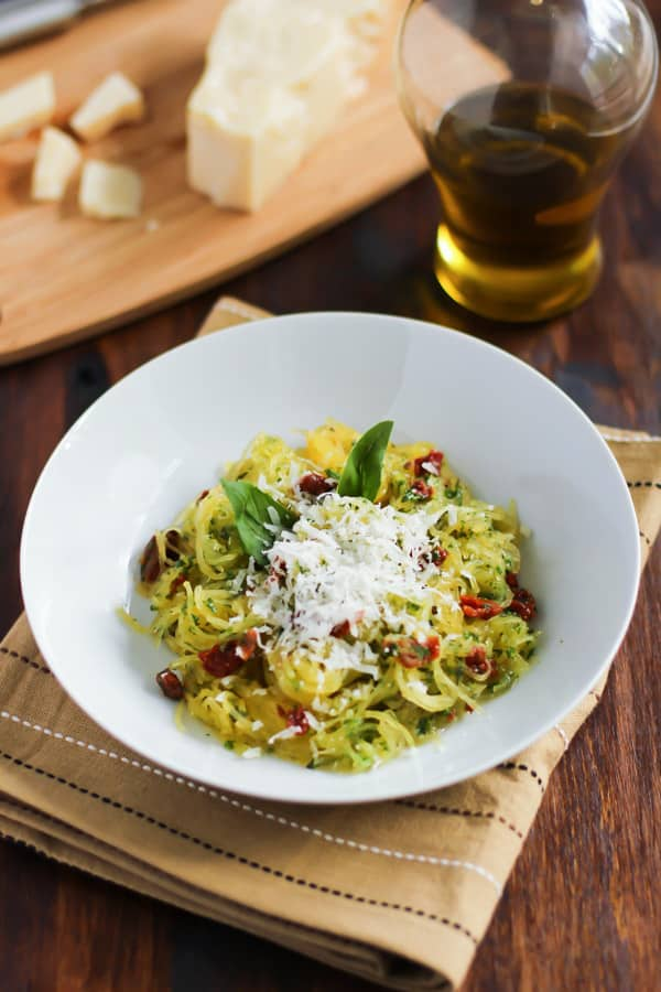 This spaghetti squash with sun dried tomato and basil is a flavourful ...