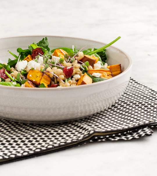 roasted sweet potato wheatberry salad