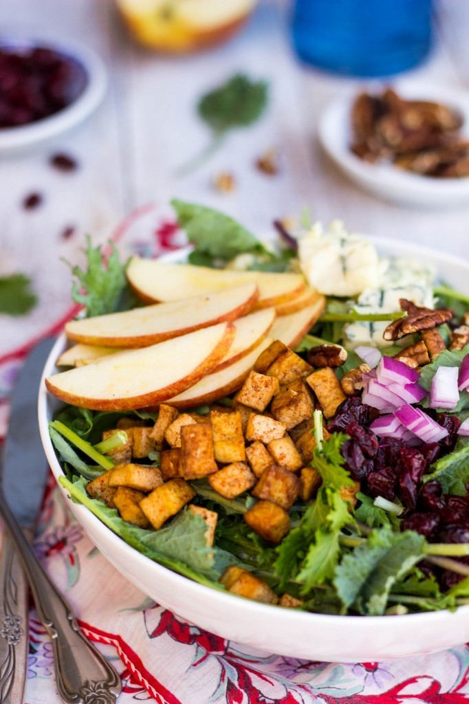 blue cheese apple pecan cranberry salad tofu 50 Healthy Salad Recipes Primavera Kitchen