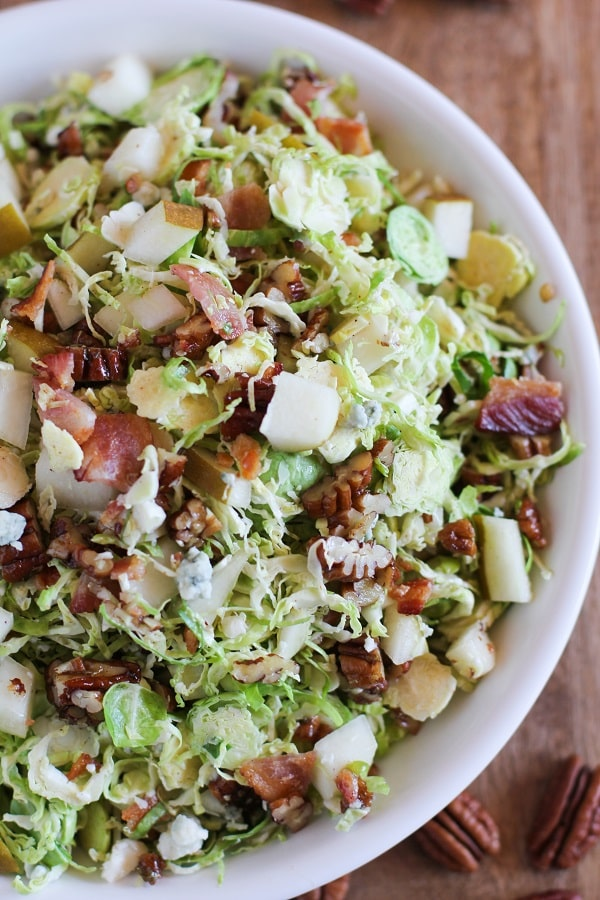 Brussels sprout chopped salad with warm bacon dressing 50 Healthy Salad Recipes Primavera Kitchen