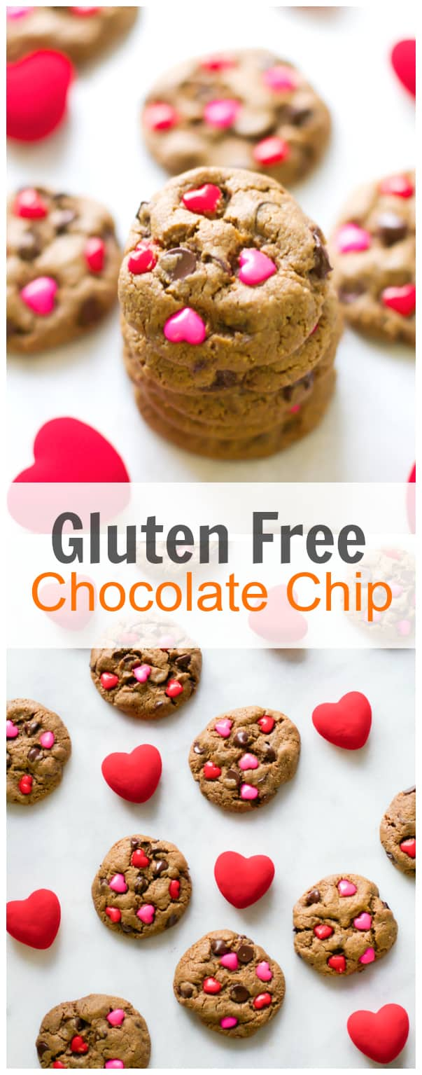 Valentine's Day Gluten Free Chocolate Chip Cookies - Primavera Kitchen