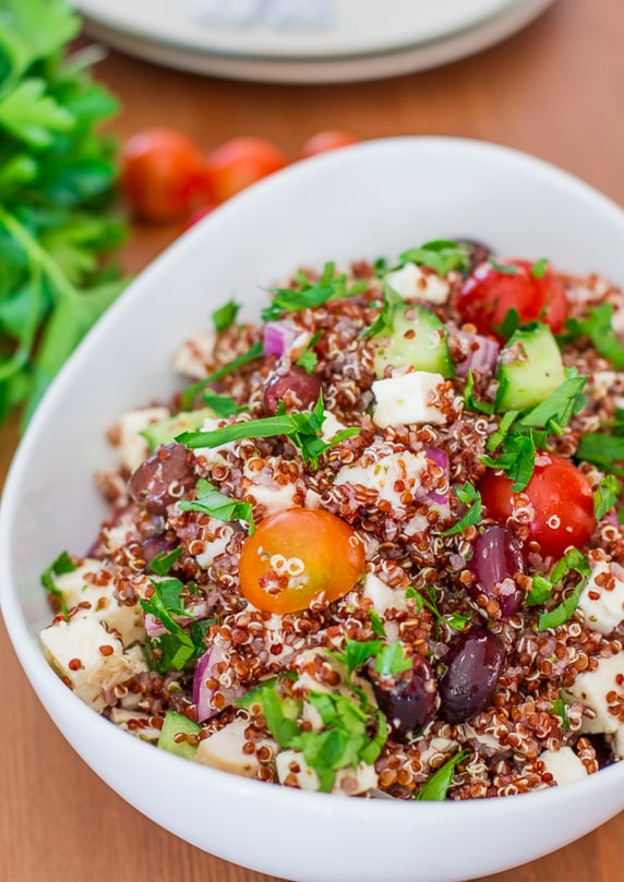 greek chicken red quinoa salad 50 Healthy Salad Recipes Primavera Kitchen