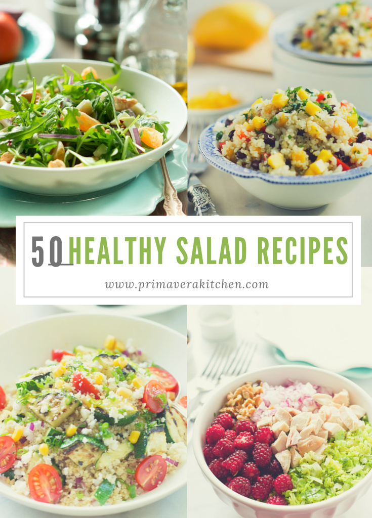 50 Healthy Salad Recipes - This 50 Healthy Salad Recipes post is going to give you a delicious list of gluten free, low carb, vegan and vegetarian salad recipes to help you eat healthier during the entire year.
