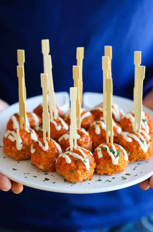 slow cooker buffalo chicken meatball