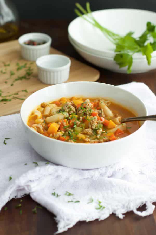 Ground Turkey Pasta Soup - Primavera Kitchen