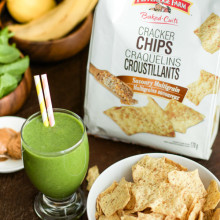 Peanut Butter Green Smoothie with Pepperidge Farm Cracker Chips-6