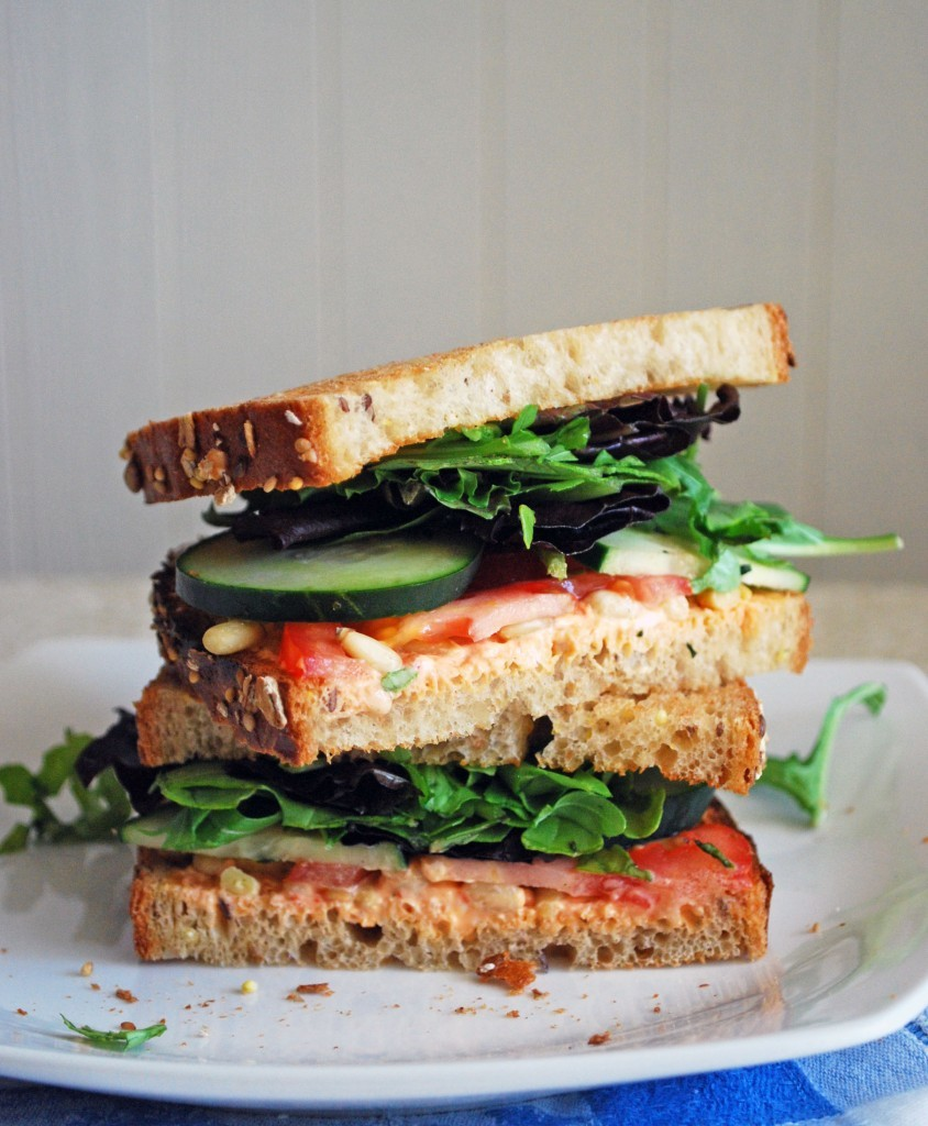 Goat Cheese Veggie Sandwich Stack