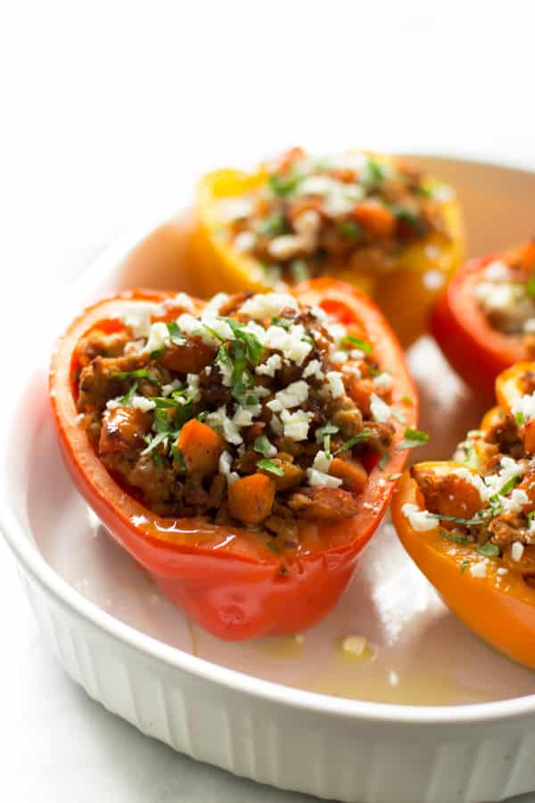 Ground turkey sweet potato stuffed peppers