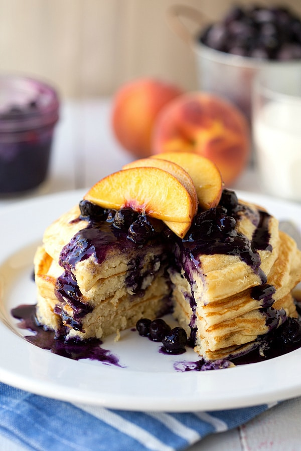 Healthy-Greek-Yogurt-Pancakes-with-Blueberry-Peach-Syrup