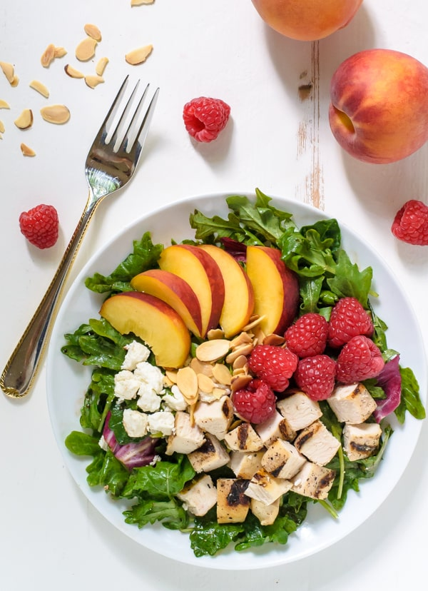 Raspberry-Peach-Salad-with-Grilled-Chicken-Feta-and-Almonds