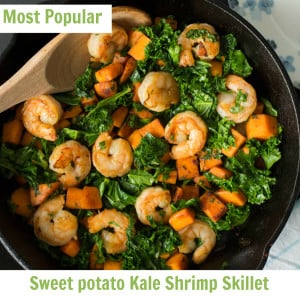 Sweet-potato-Kale-and-Shrimp-skillet
