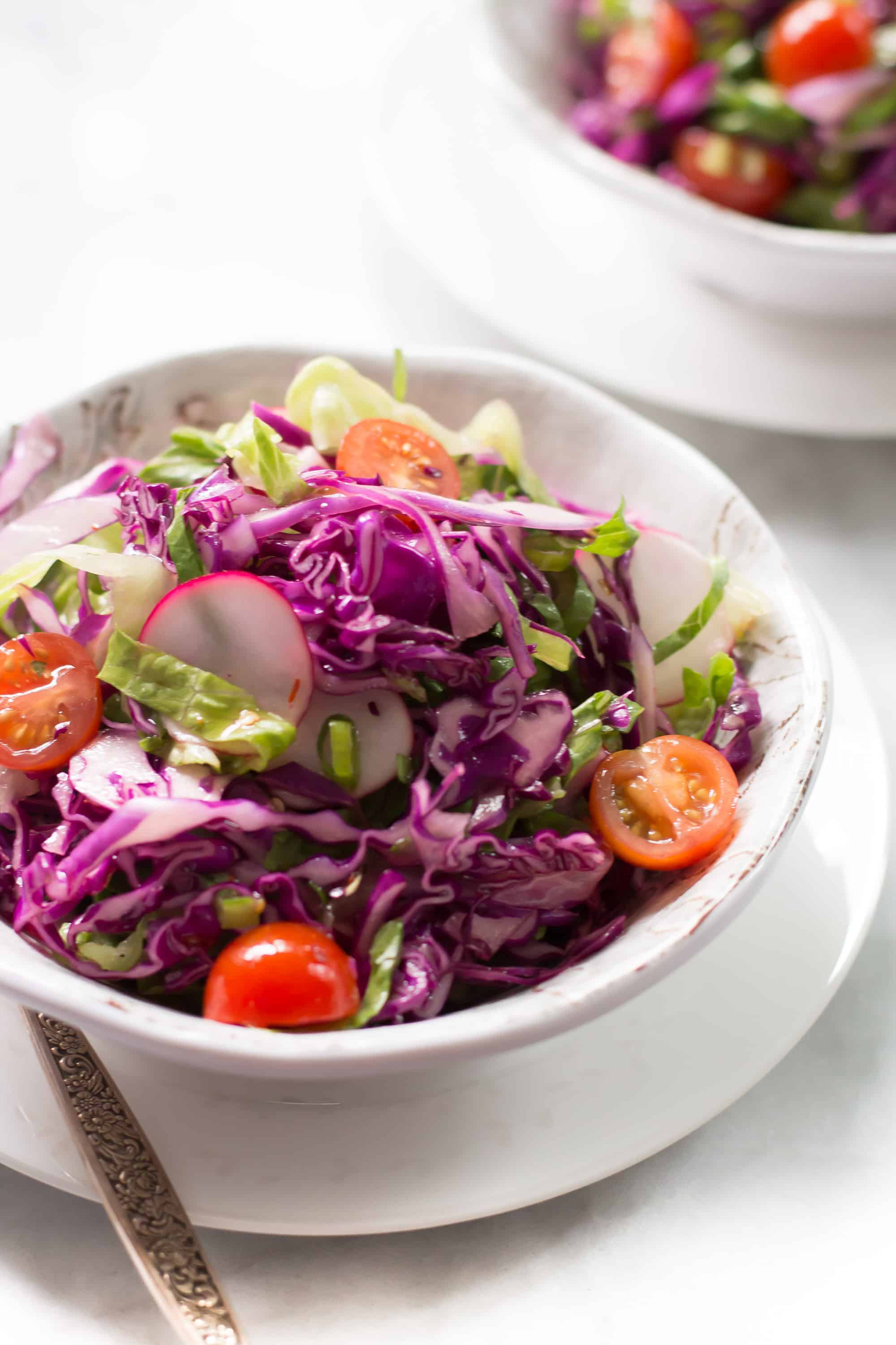 Easy Quick Red Cabbage Salad- Quick Easy Red Cabbage Salad comes together in minutes and is full of flavor. Make a batch for the whole week! We are addictive