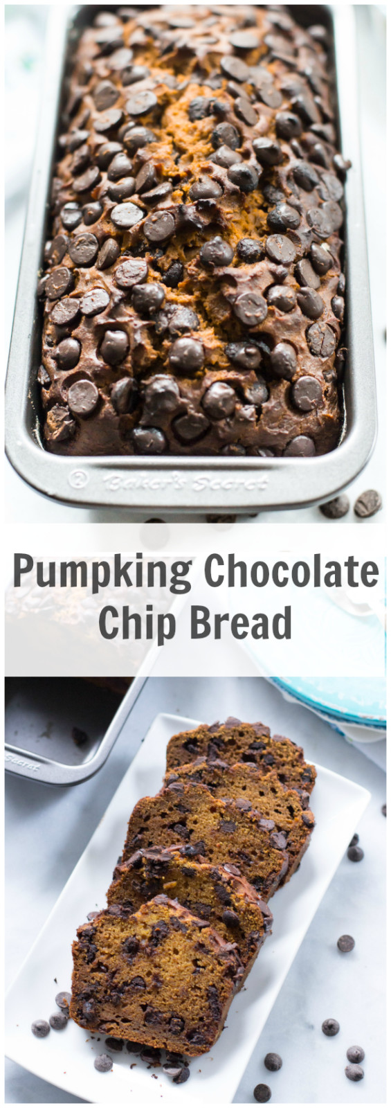 Pumpkin Chocolate Chip Bread - This is an incredibly moist Pumpkin Chocolate Chip Bread and it is loaded with fall flavour from the sweet cinnamon spice, cinnamon and chocolate chips. Enjoy this healthy pumpkin bread!