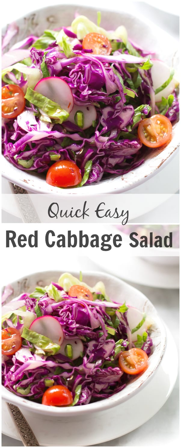 Quick Easy Red Cabbage Salad comes together in minutes and is full of flavor. Make a batch for the whole week! We are addicted to this salad!