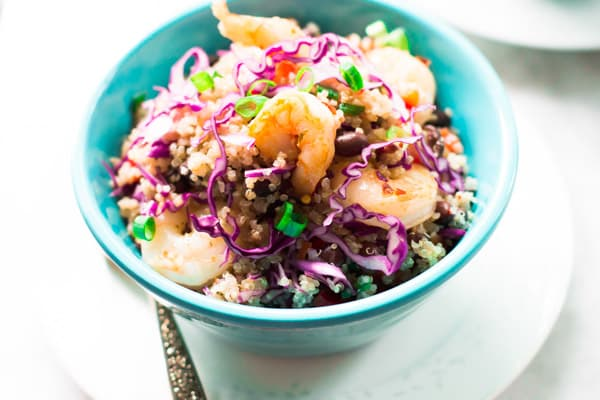 Shrimp Quinoa Salad-This shrimp quinoa salad is so simple, so protein-packed, and so irresistible! You'll love the flavors of this delicious meal.