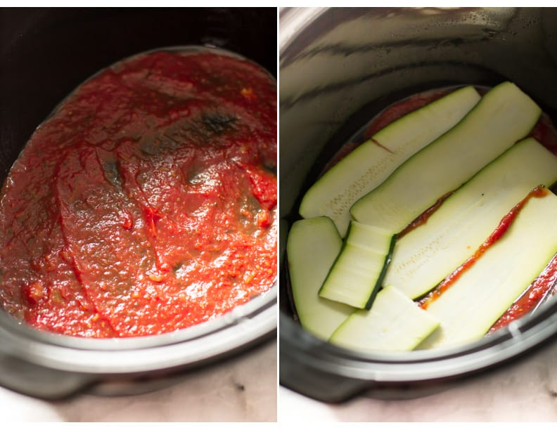 Slow Cooker Zucchini Lasagna - This lasagna is going to become your favourite lasagna recipe not only because I used zucchini instead of noodles, but also made in the slow cooker.