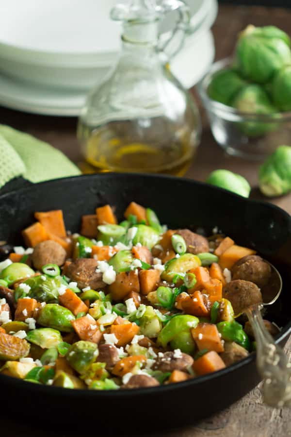 Turkey Sausage Skillet with Brussel Sprouts and Sweet Potatoes_-4