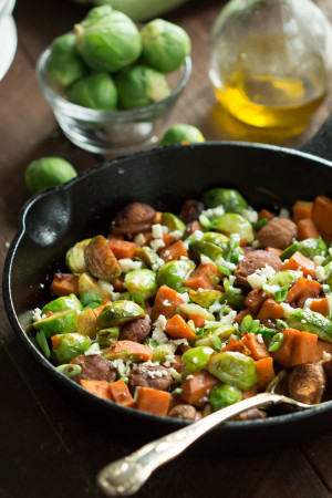Turkey Sausage Skillet with Brussel Sprouts and Sweet Potatoes_-6