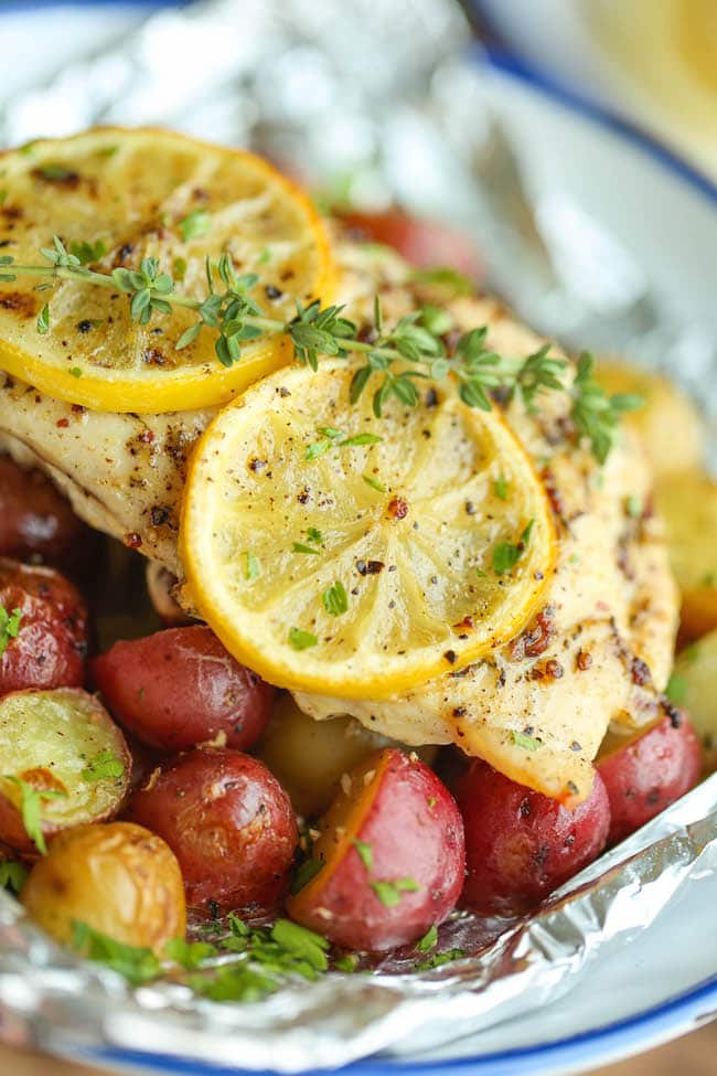 Lemon Chicken and Potatoes in Foil from Damn Delicious.