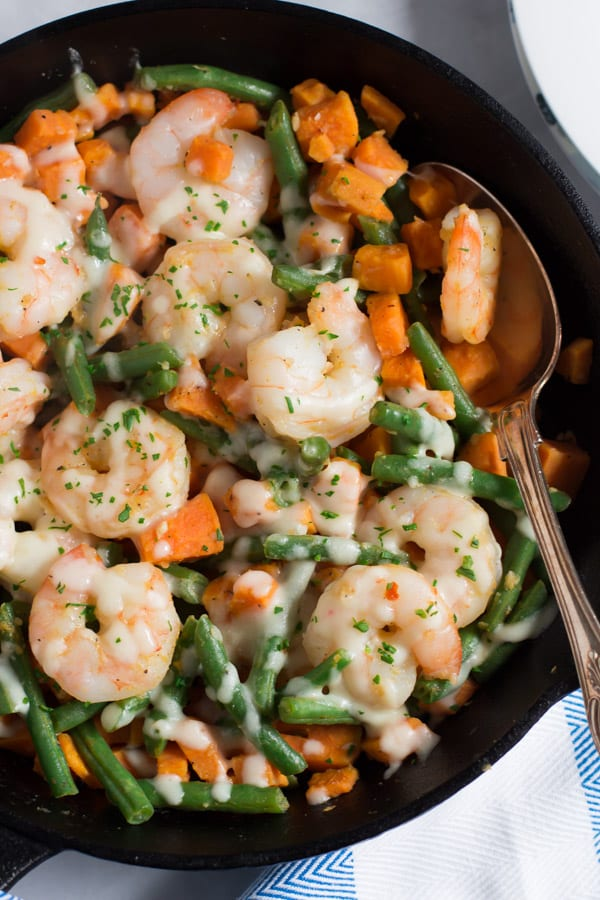 Shrimp Skillet with Sweet Potato and Green Beans-3