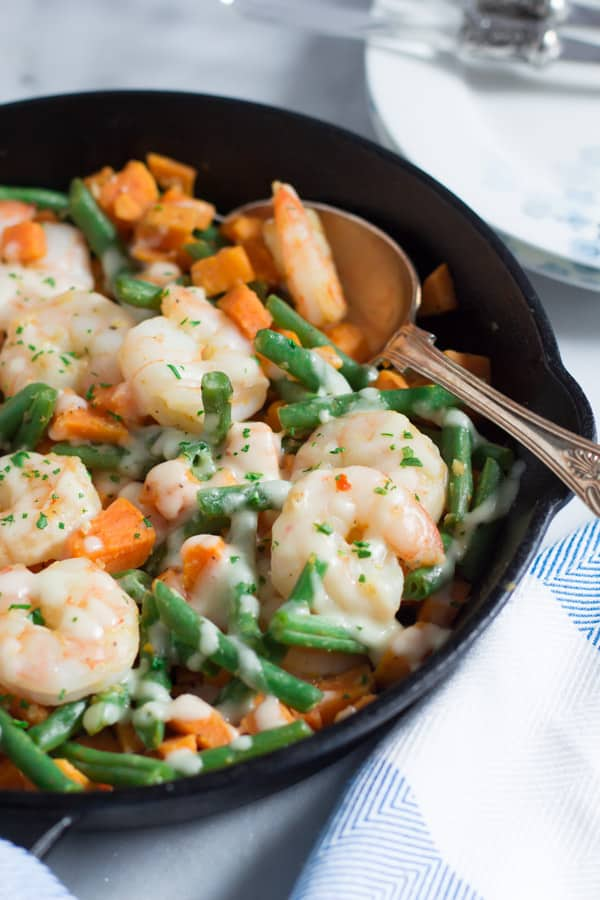 Shrimp Skillet with Sweet Potato and Green Beans 10 One-Pan Gluten-free Dinner Recipes Under 30 Minutes Primavera Kitchen Recipes