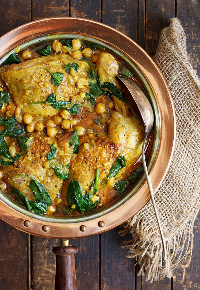 Indian-spiced chicken With Chickpeas and Spinach from Seasons & Suppers.