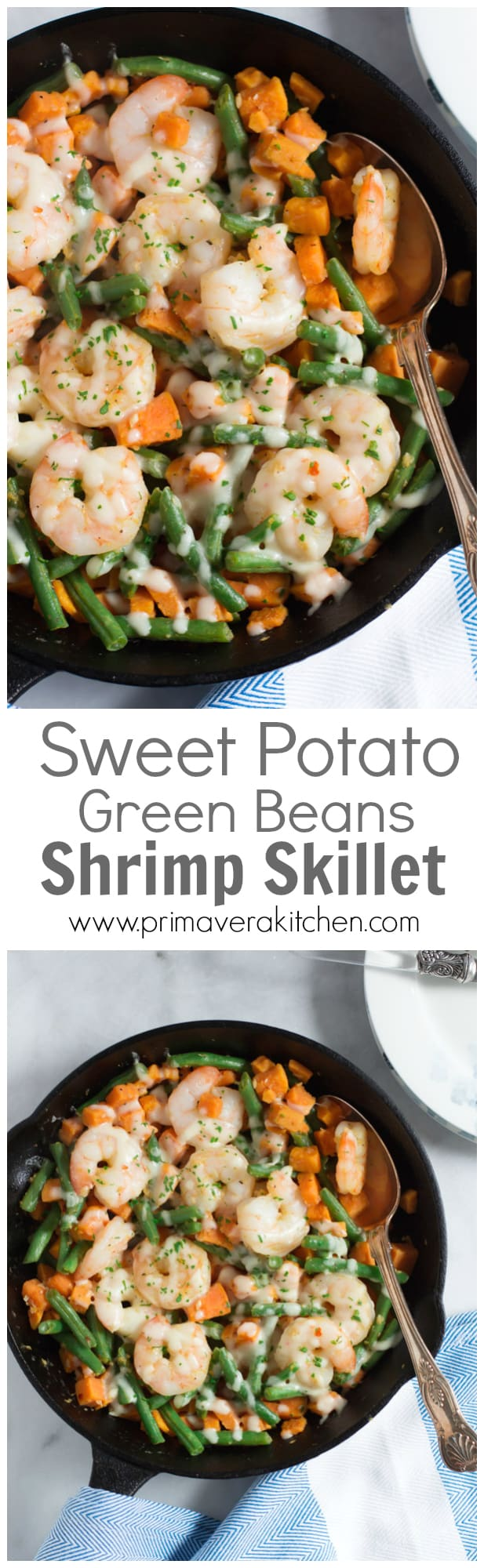Shrimp Skillet with Sweet Potato and Green Beans - This Shrimp Skillet is made with sweet potato and green beans, which uses only one pot and it is done in less than 30mins.