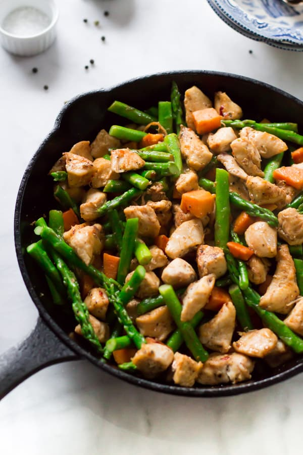 Asparagus Sweet Potato Chicken Skillet 10 One-Pan Gluten-free Dinner Recipes Under 30 Minutes Primavera Kitchen Recipes