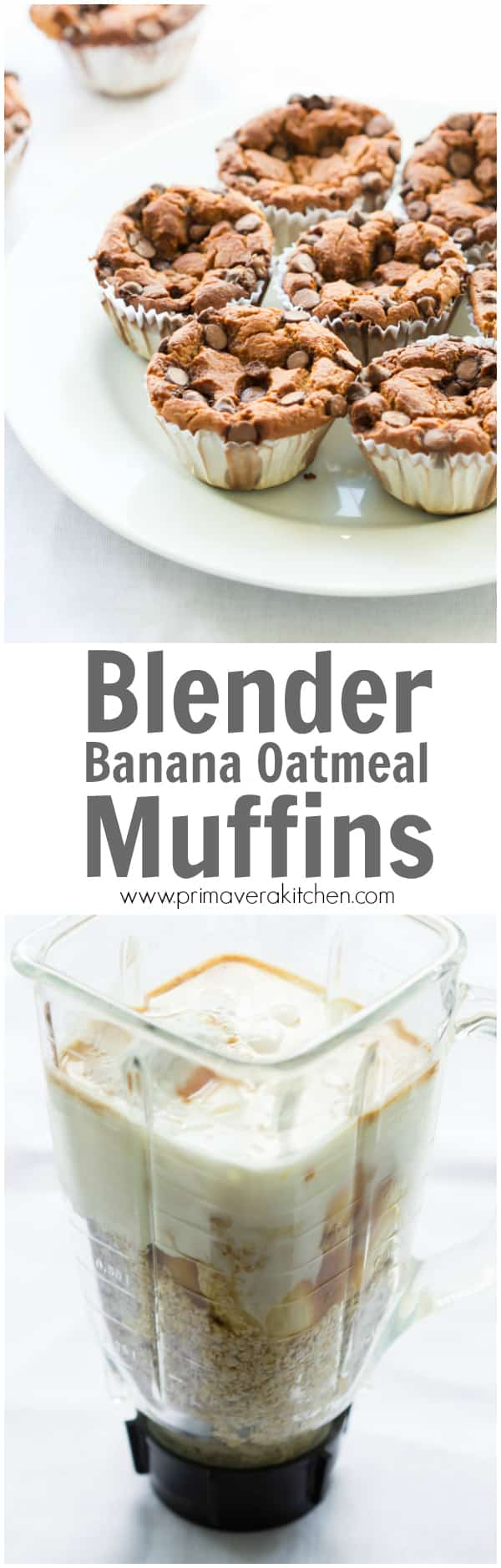 Blender Banana Oatmeal Muffins - Start your day off right with these delicious Blender Banana Oatmeal Muffins! They are gluten and oil free, but they are very moisture because of the Greek Yogurt. Also They are naturally sweetened and easy to make!