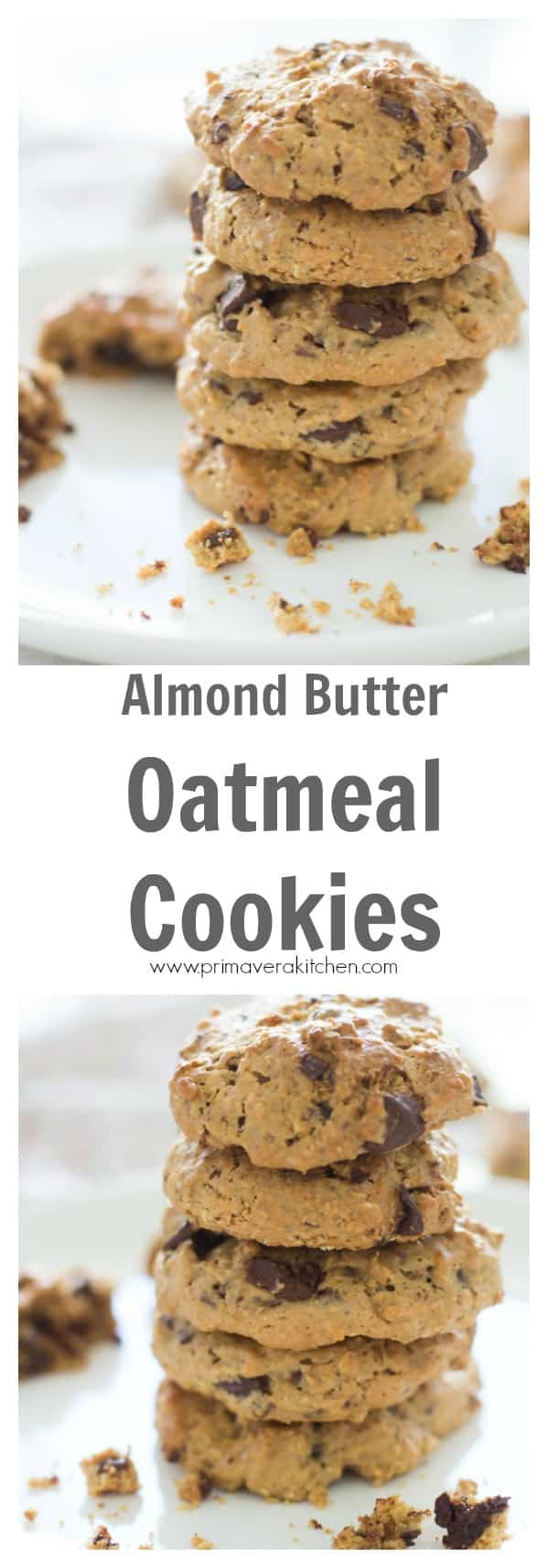 Gluten-free Almond Butter Oatmeal Cookies - Ready to bake some healthy, flourless and gluten-free Almond Butter Oatmeal Cookies? This recipe is so easy to make, deliciously comforting and also irresistible!