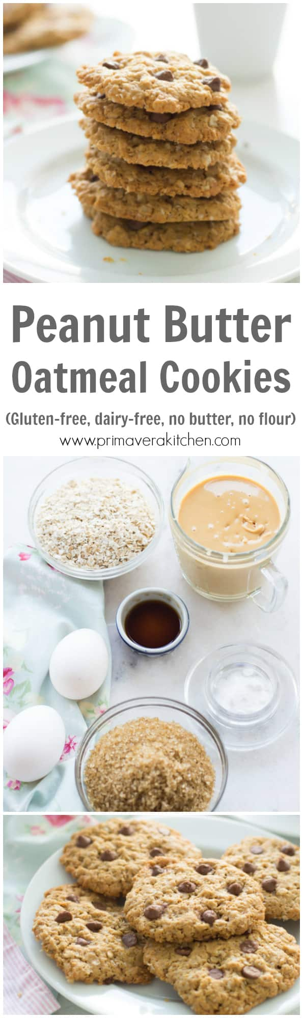 Healthy Peanut Butter Oatmeal Cookies - This delicious, soft, chewy and gluten-free Healthy Peanut Butter Oatmeal Cookies are made with no flour and it is also dairy-free!