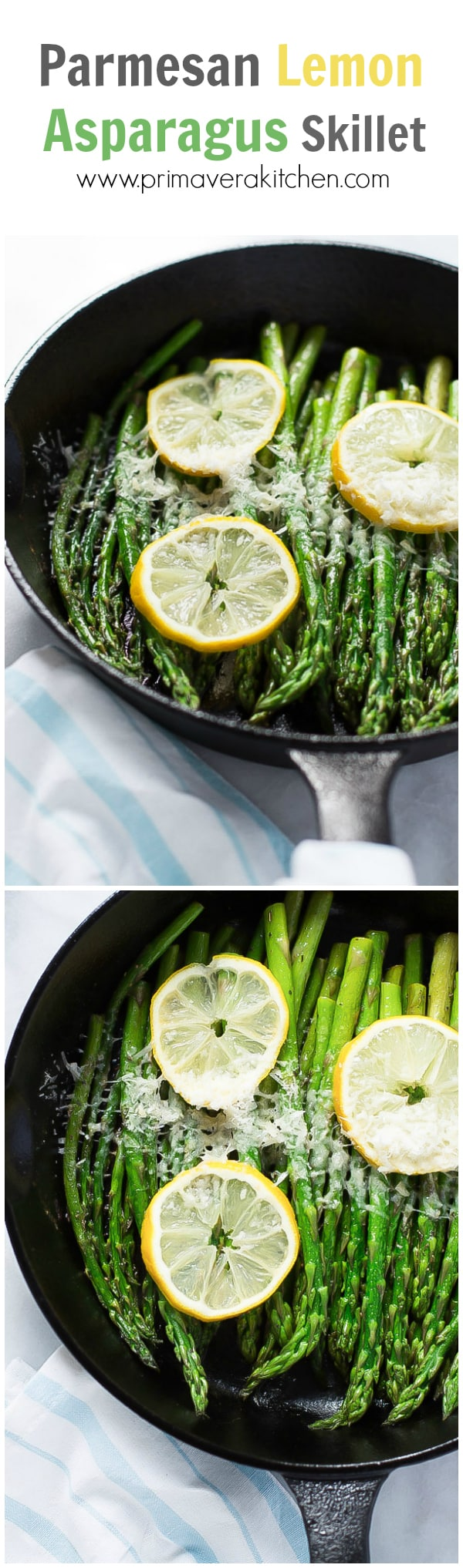 Parmesan Lemon Asparagus Skillet - Enjoy this quick and easy Parmesan Lemon Asparagus Skillet recipe as a healthy side dish during your busy weeknights. This is loaded with Parmesan, garlic, lemon juice, dried oregano and Italian seasoning.