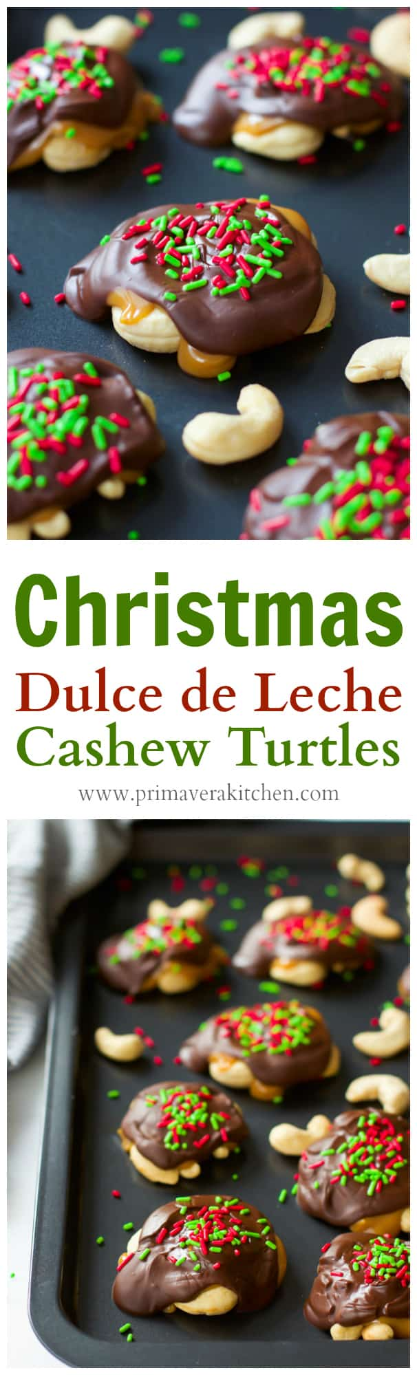 christmas-dulce-de-leche-cashew-turtles- These Christmas Dulce de Leche Cashew Turtles are seriously ultra-easy to make and just require 4-ingredient. The only thing you need to do is to pile some roasted cashews, cover with Dulce de Leche, top with dark chocolate and Christmas sprinkles.
