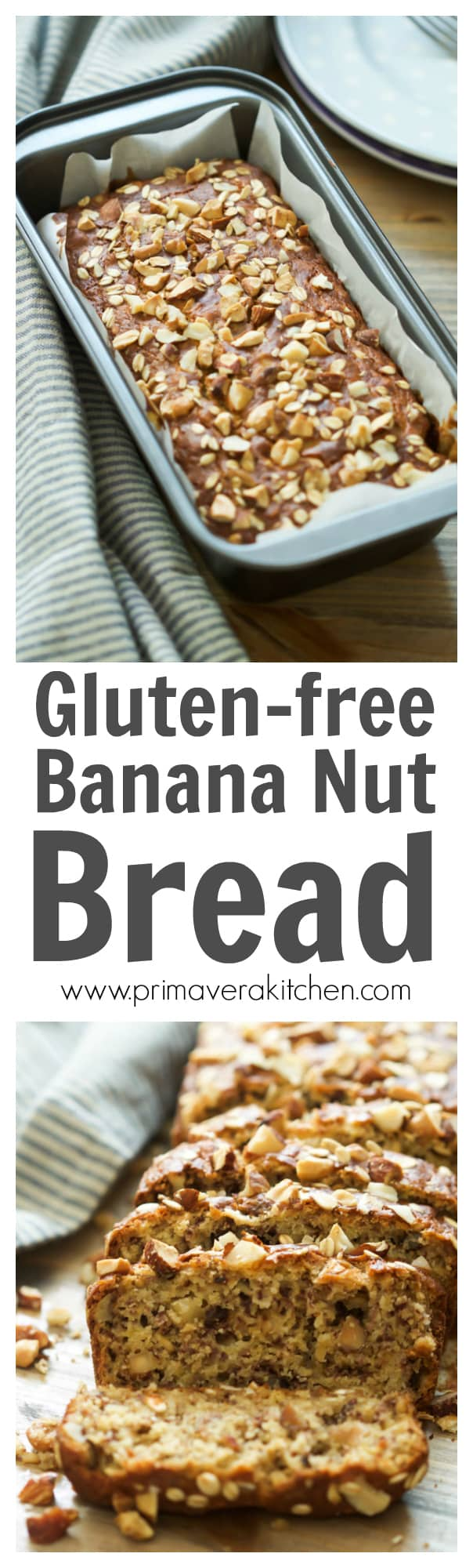 gluten-free-banana-nut-bread - This Gluten-free Banana Nut Bread is made with rice flour, Greek yogurt, rolled oats and coconut oil. This is also naturally sweetened and will make your home smells like Autumn! Enjoy!