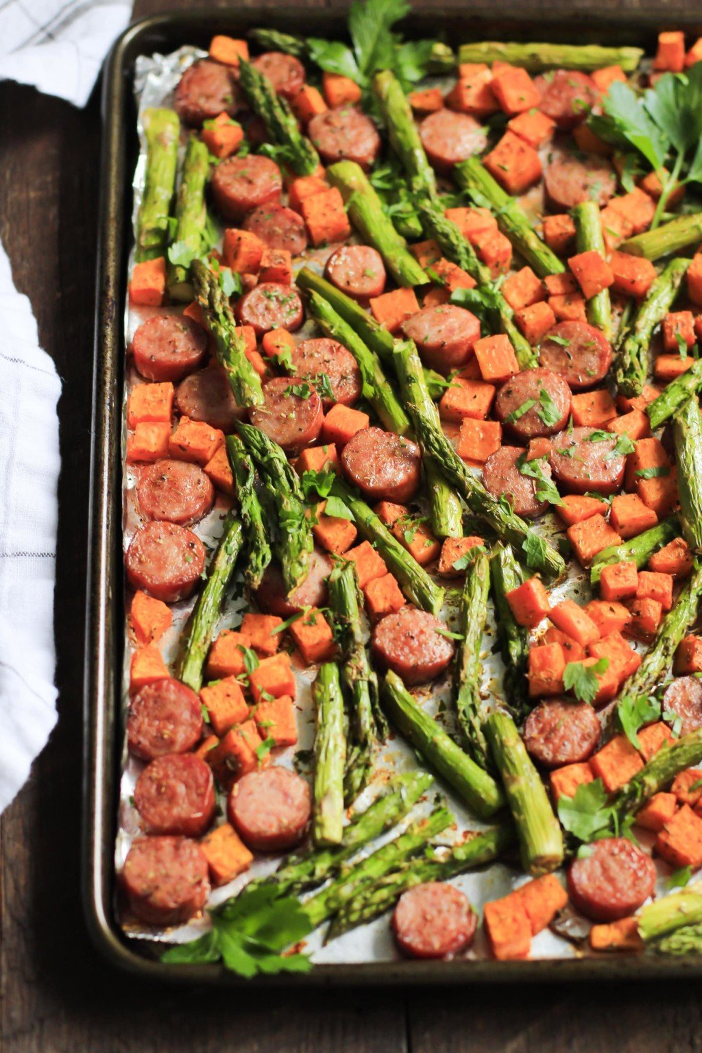 Onepan Sausage With Sweet Potato And Asparagus  This Onepan Sausage With