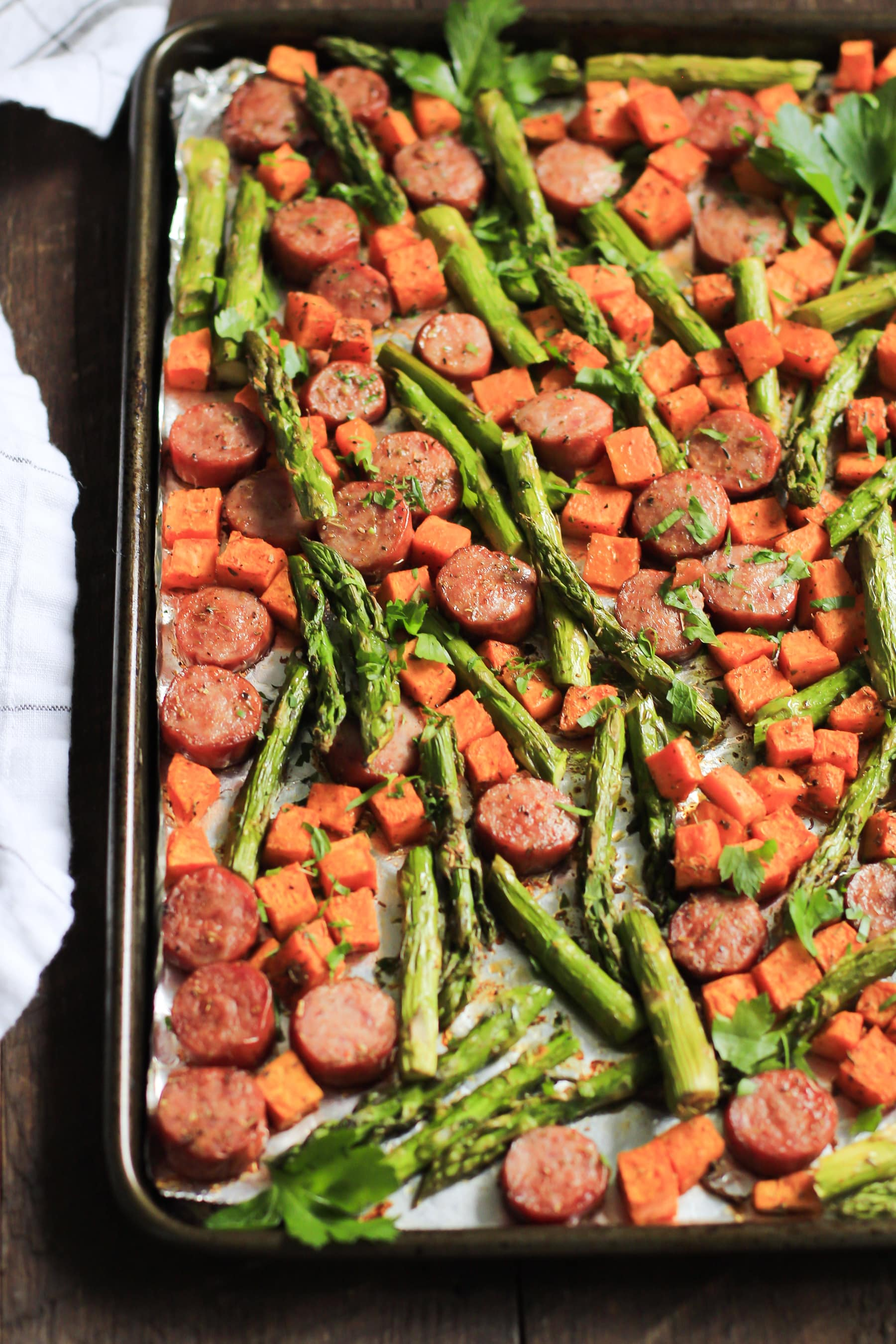 One Pan Sausage With Sweet Potato And Asparagus