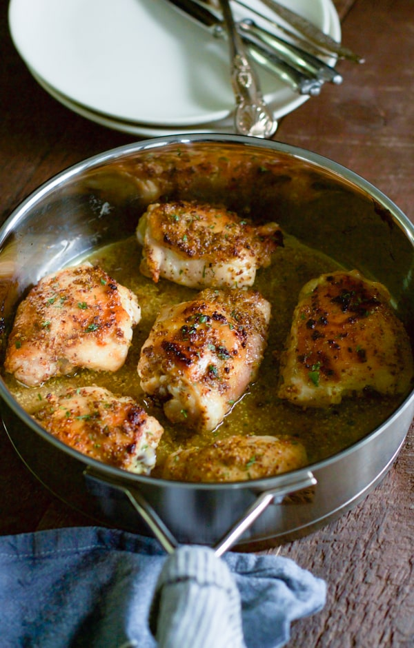 Orange Dijon Chicken Thighs - This Orange Dijon Chicken Thighs recipe only requires 4-ingredient, it takes only 5 minutes to prepare and it serves 6 people. The perfect chicken recipe for the busy weeknights!
