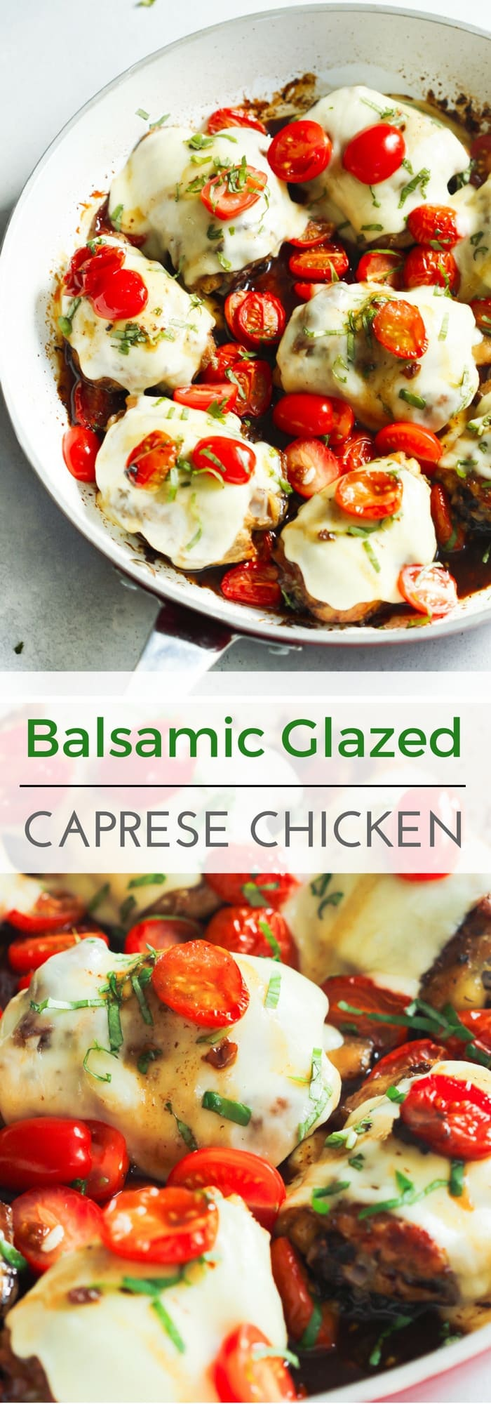 This One-Pan Balsamic Glazed Caprese Chicken is a low-carb recipe that is baked in a flavourful balsamic glaze. It's also done in 35 minutes.