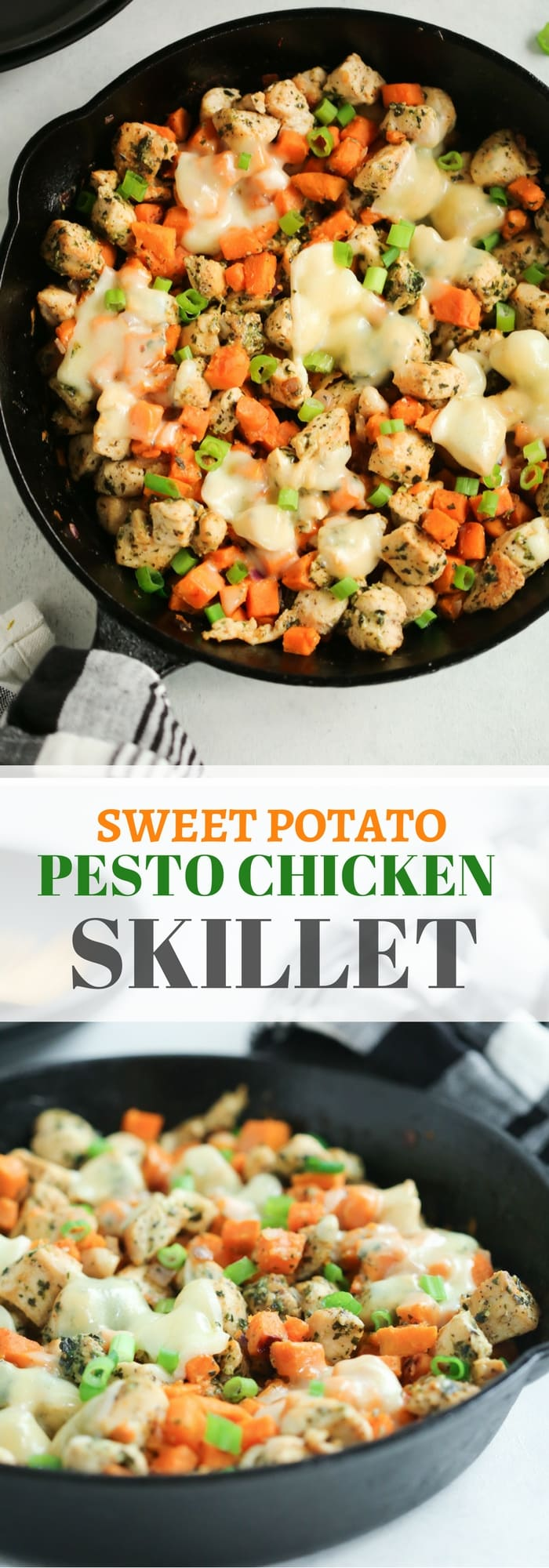 Sweet Potato Chicken Pesto Skillet - Sweet Potato Pesto Chicken Skillet is the easiest recipe you can prepare for dinner and it's low-carb, gluten-free and one-pan, which is great to clean up!
