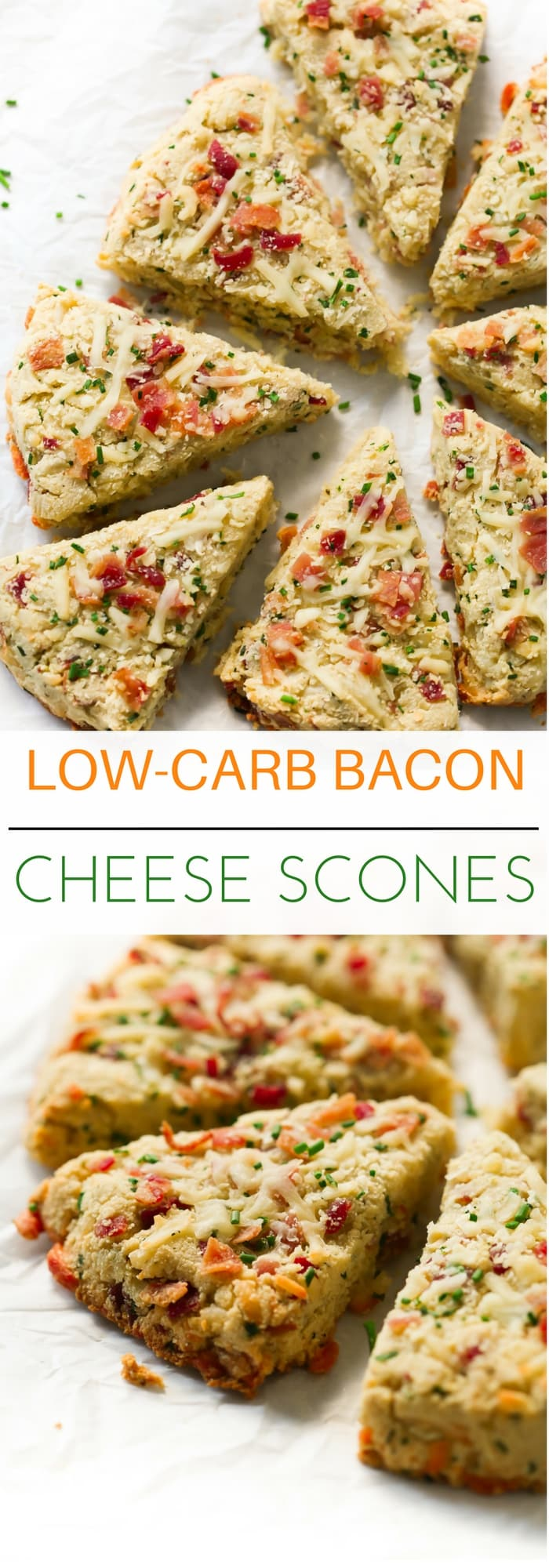 Low-carb Bacon and Cheese Scones - These Low-carb Bacon and Cheese Scones are gluten-free, ultra-simple to whip up and they are made with almond flour, coconut flour, bacon, cheese and chives.