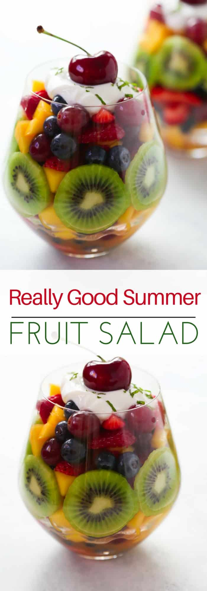 This Really Good Summer Fruit Salad is the perfect healthy and delicious summer treat or snack for you. It's made with blueberry, mango, kiwi, grapes and fresh orange juice.