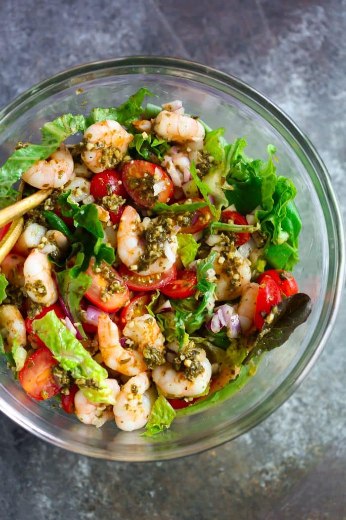Pesto Shrimp Tomato Salad Recipe Primavera Kitchen
